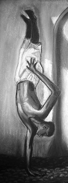 Dessin à la craie blanchesur feuille noire