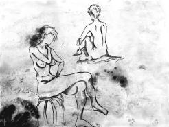 Hélène - Modèle vivant stylisé à l'encre de chine