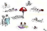 Quelques croquis à la plage, aux encres