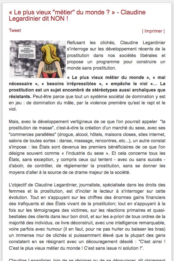 Abolition prostitution - Legardinier - Dewaele